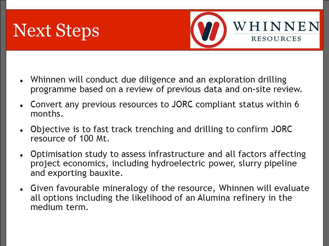 Next Steps Whinnen will conduct due diligence and an exploration drilling programme based on a review of previous data and on-site review.
