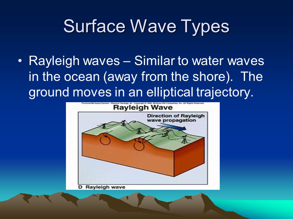 Surface Wave Types Rayleigh waves – Similar to water waves in the ocean (away from the shore).