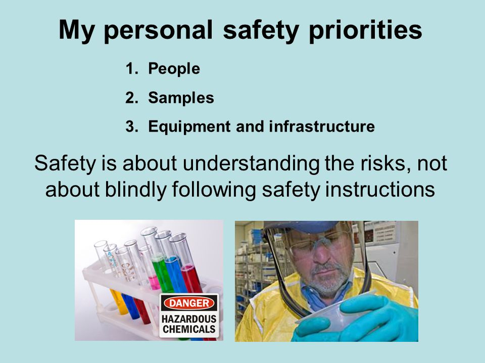 My personal safety priorities