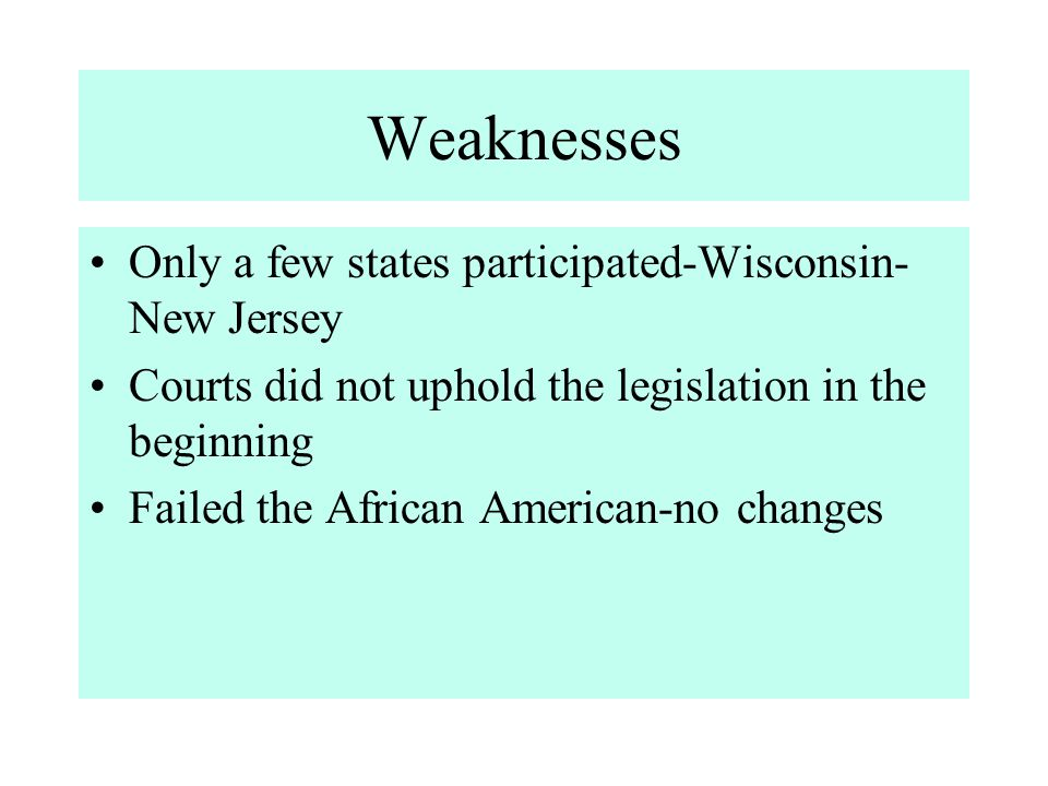 Weaknesses Only a few states participated-Wisconsin-New Jersey
