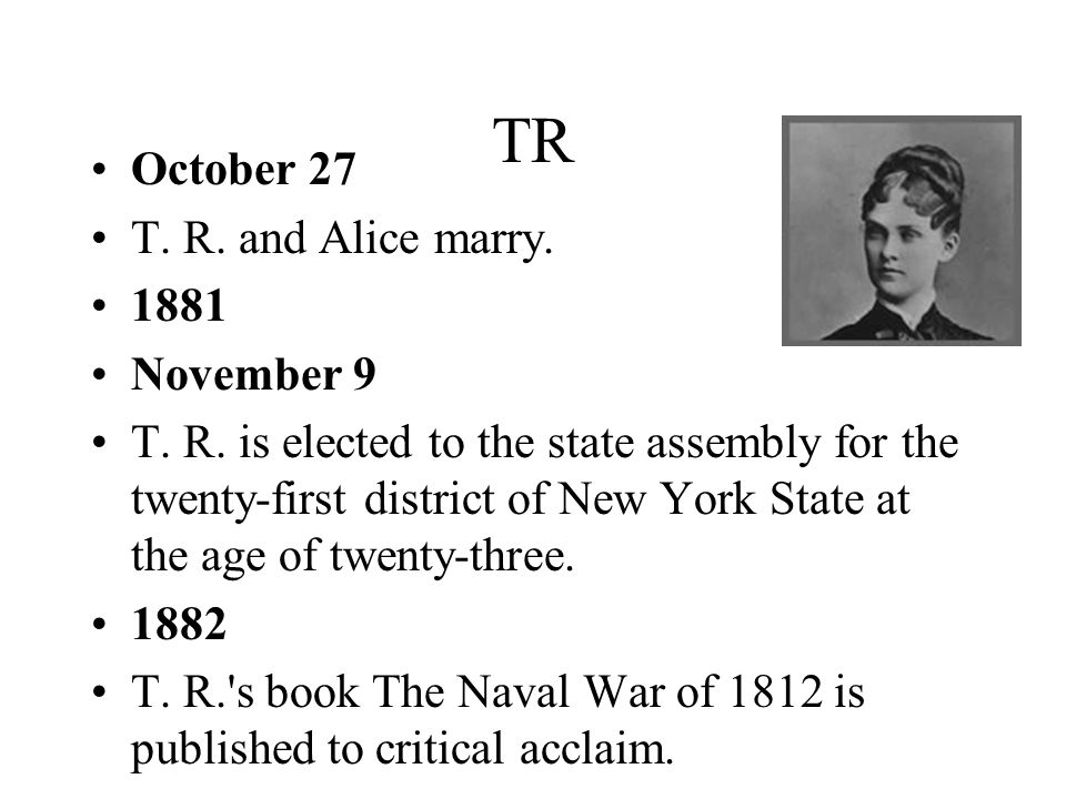 TR October 27 T. R. and Alice marry. 1881 November 9