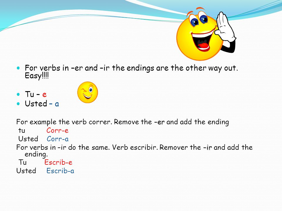 For verbs in –er and –ir the endings are the other way out. Easy!!!!