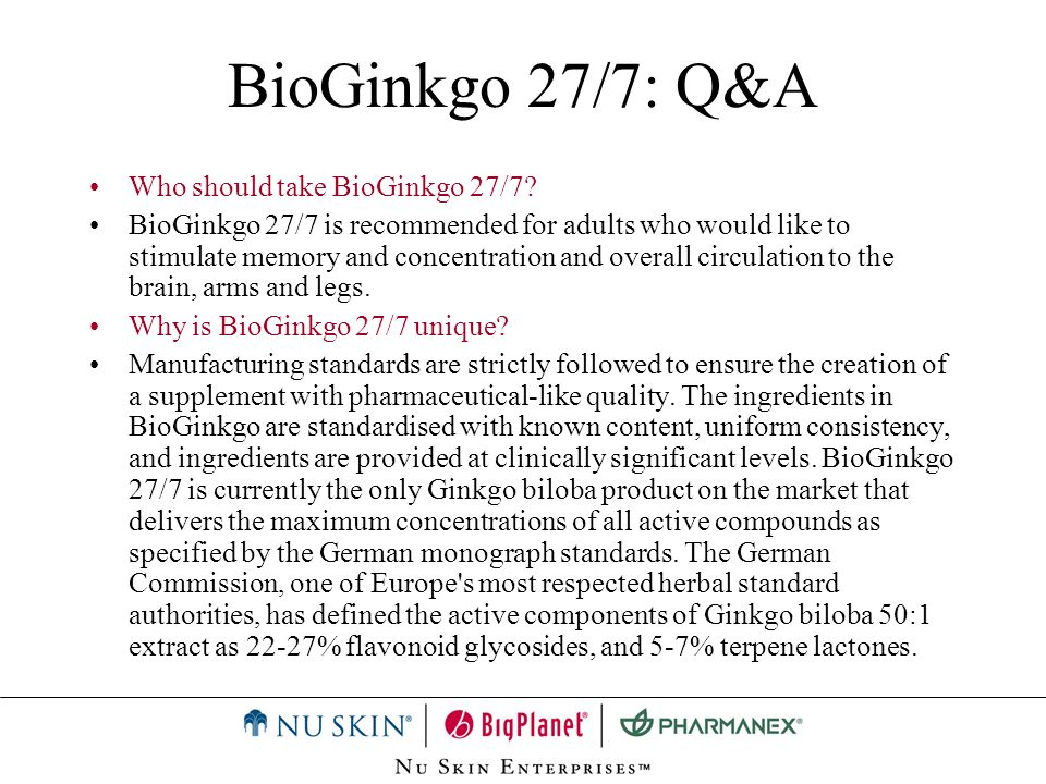 BioGinkgo 27/7: Q&A Who should take BioGinkgo 27/7