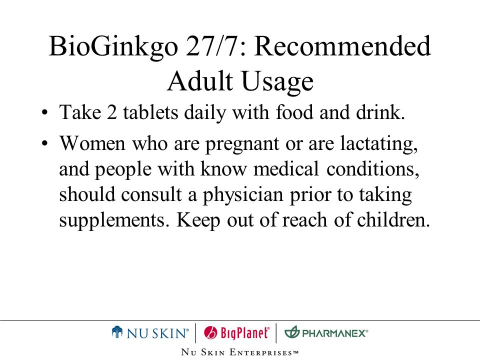 BioGinkgo 27/7: Recommended Adult Usage