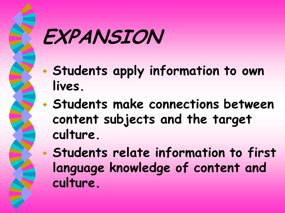 EXPANSION Students apply information to own lives.