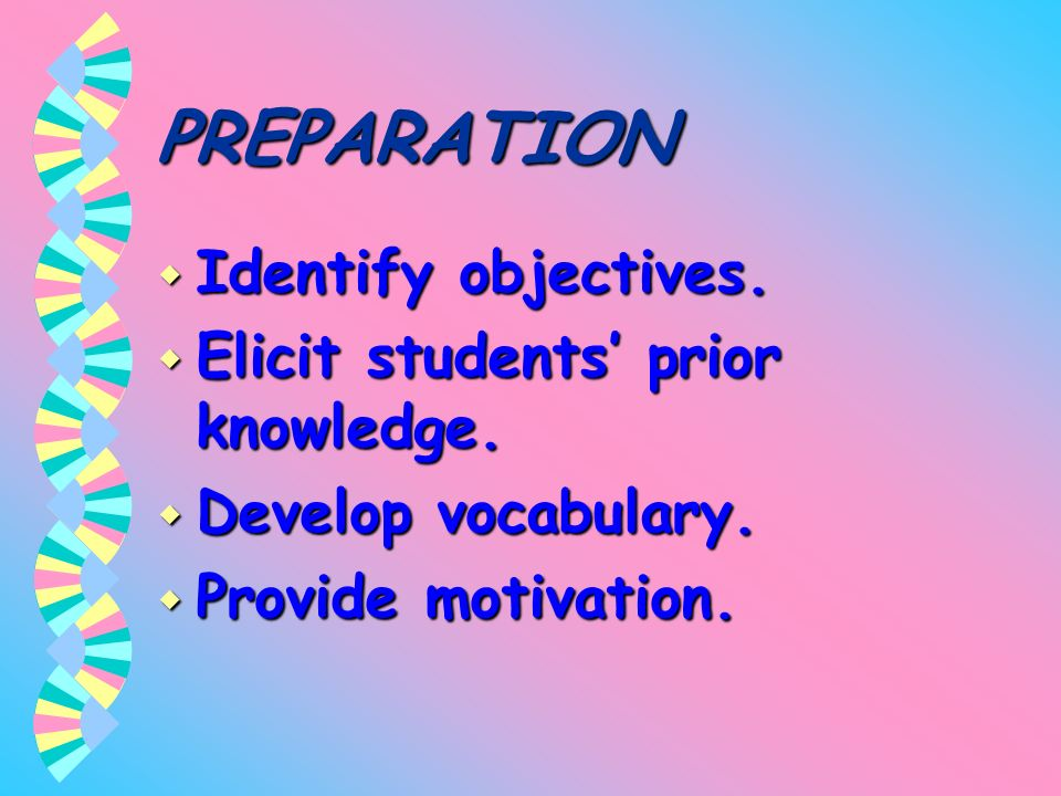 PREPARATION Identify objectives. Elicit students' prior knowledge.