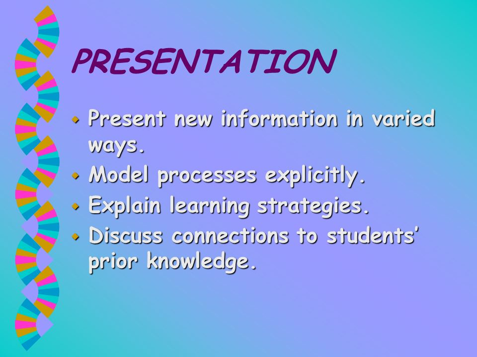 PRESENTATION Present new information in varied ways.