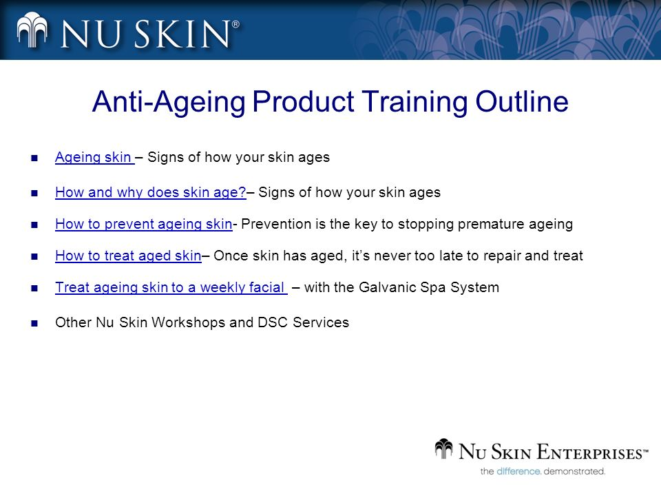 Anti-Ageing Product Training Outline