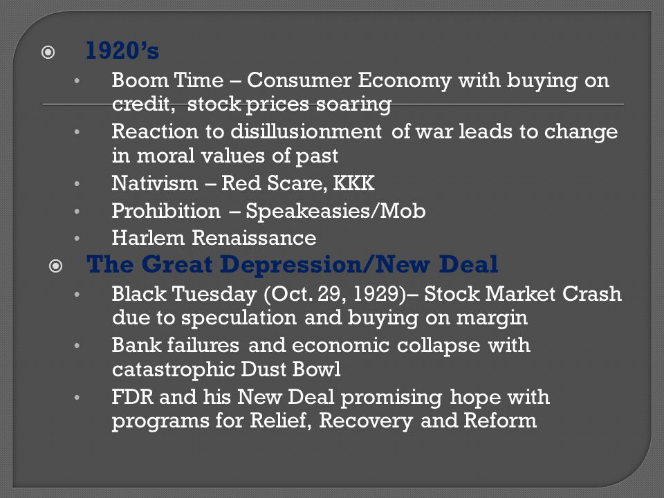 The Great Depression/New Deal