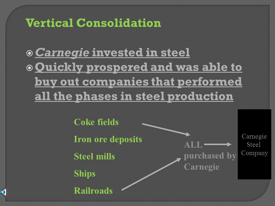 Vertical Consolidation Carnegie invested in steel