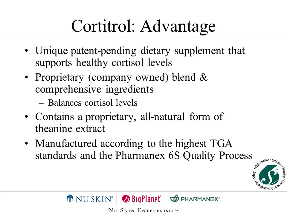 Cortitrol: Advantage Unique patent-pending dietary supplement that supports healthy cortisol levels.