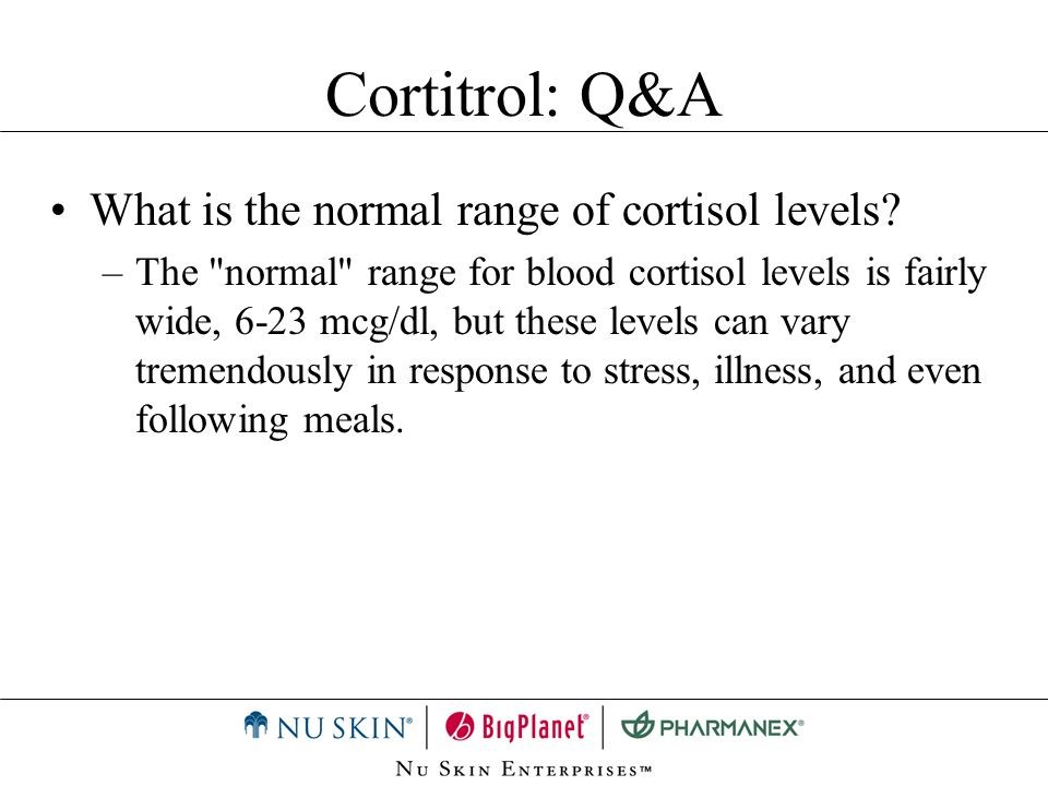 Cortitrol: Q&A What is the normal range of cortisol levels