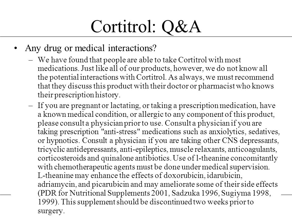 Cortitrol: Q&A Any drug or medical interactions