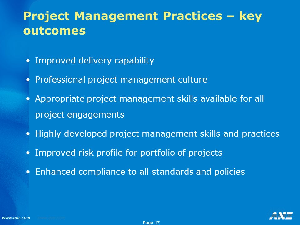 Project Management Practices – key outcomes
