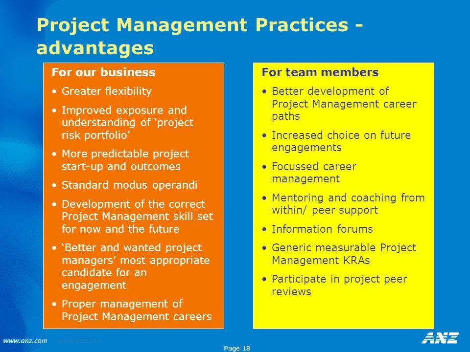 Project Management Practices - advantages