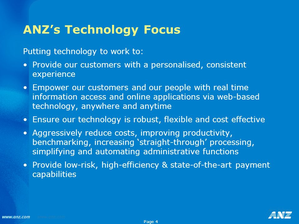ANZ's Technology Focus