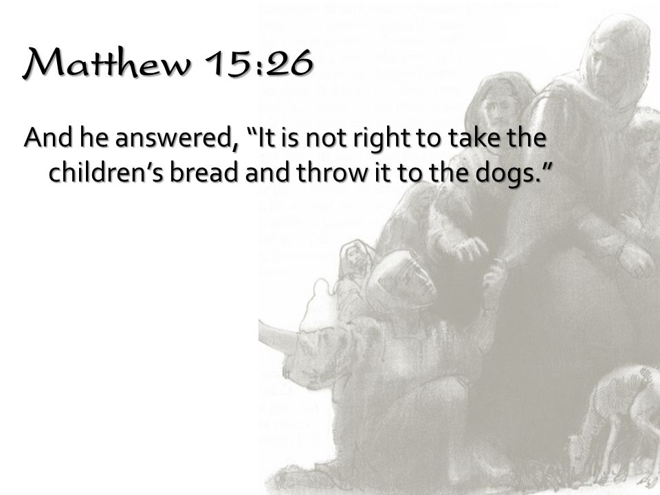 Matthew 15:26 And he answered, It is not right to take the children's bread and throw it to the dogs.