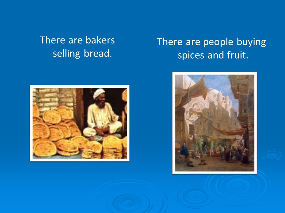 There are bakers selling bread.