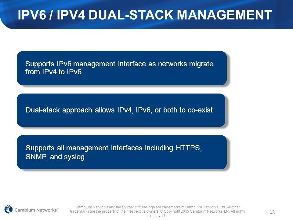 IPV6 / IPv4 Dual-Stack Management