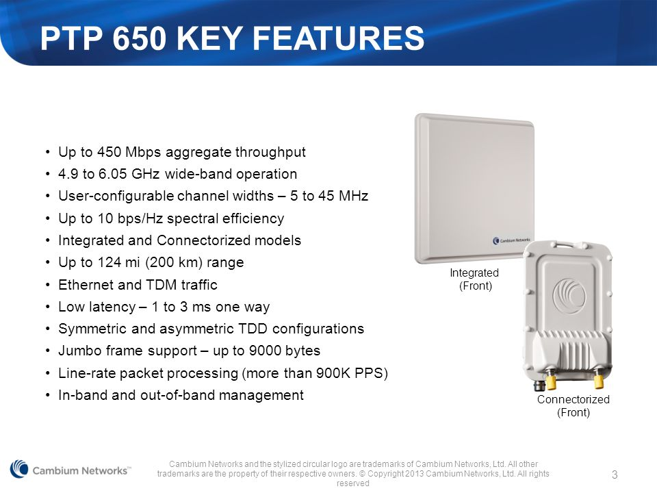 PTP 650 KEY FEATURES Up to 450 Mbps aggregate throughput
