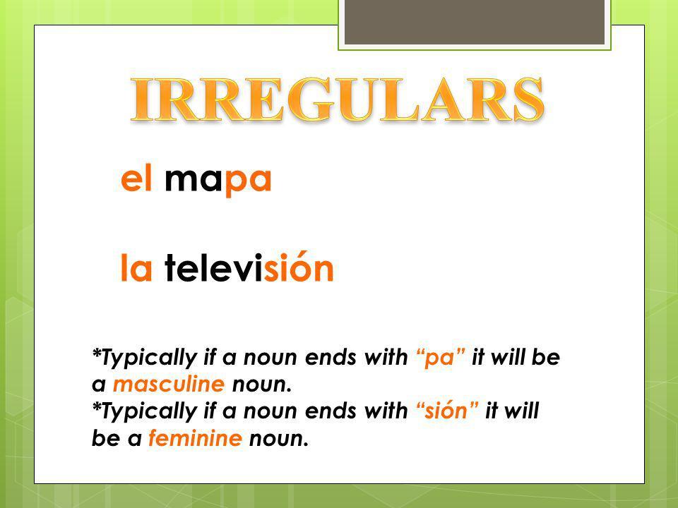 IRREGULARS el mapa la televisión