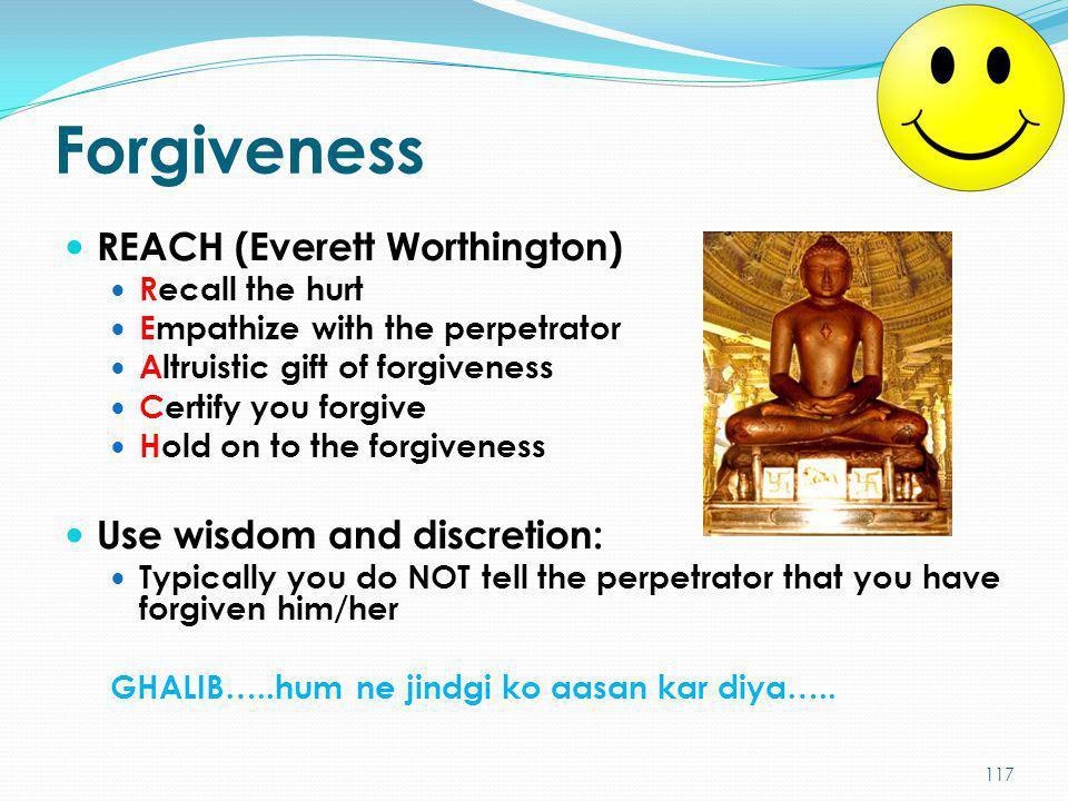 Forgiveness REACH (Everett Worthington) Use wisdom and discretion:
