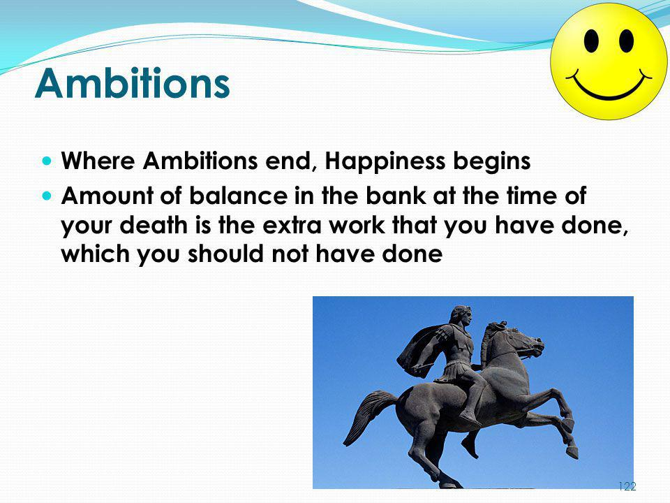 Ambitions Where Ambitions end, Happiness begins