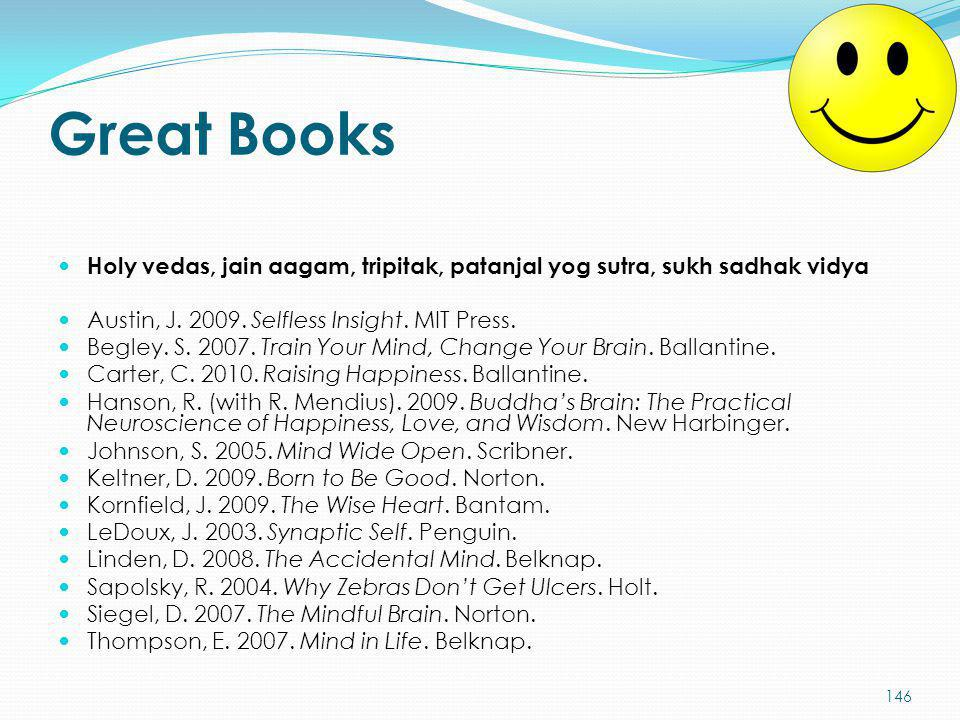 Great Books Holy vedas, jain aagam, tripitak, patanjal yog sutra, sukh sadhak vidya. Austin, J. 2009. Selfless Insight. MIT Press.