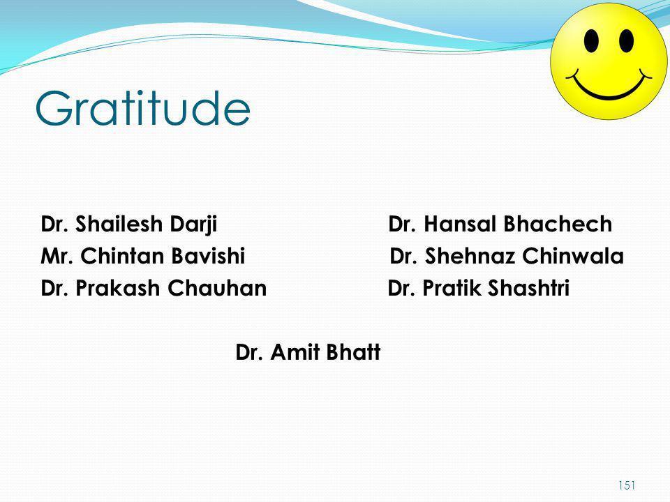 Gratitude Dr. Shailesh Darji Dr. Hansal Bhachech