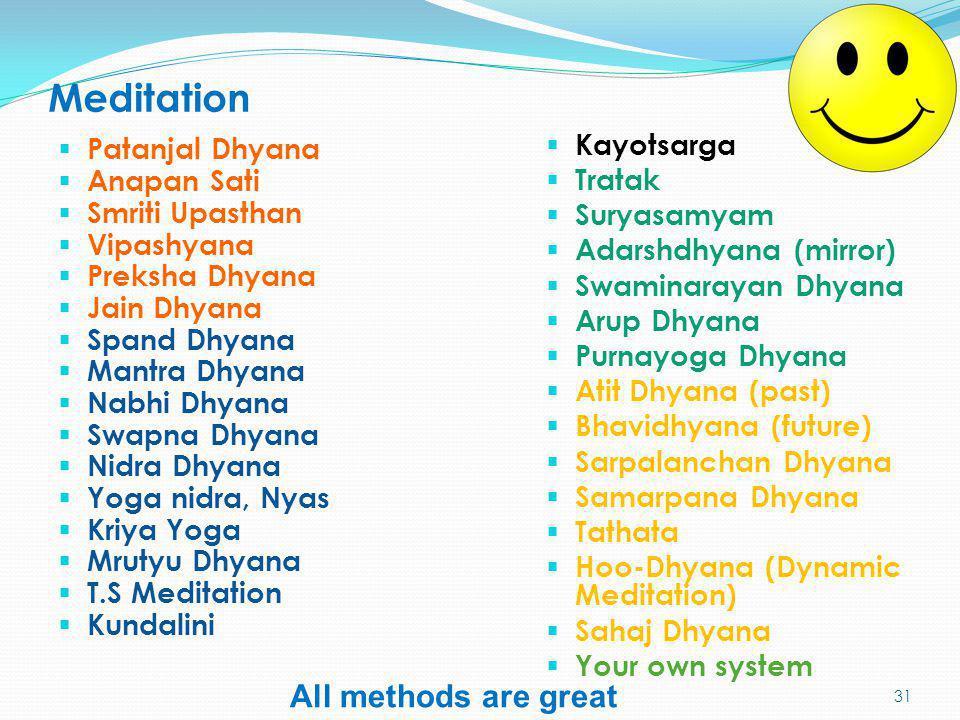 Meditation All methods are great Kayotsarga Patanjal Dhyana Tratak