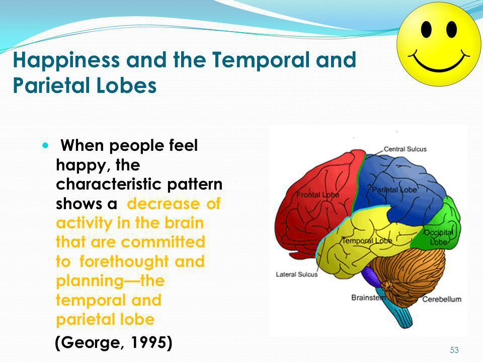 Happiness and the Temporal and Parietal Lobes
