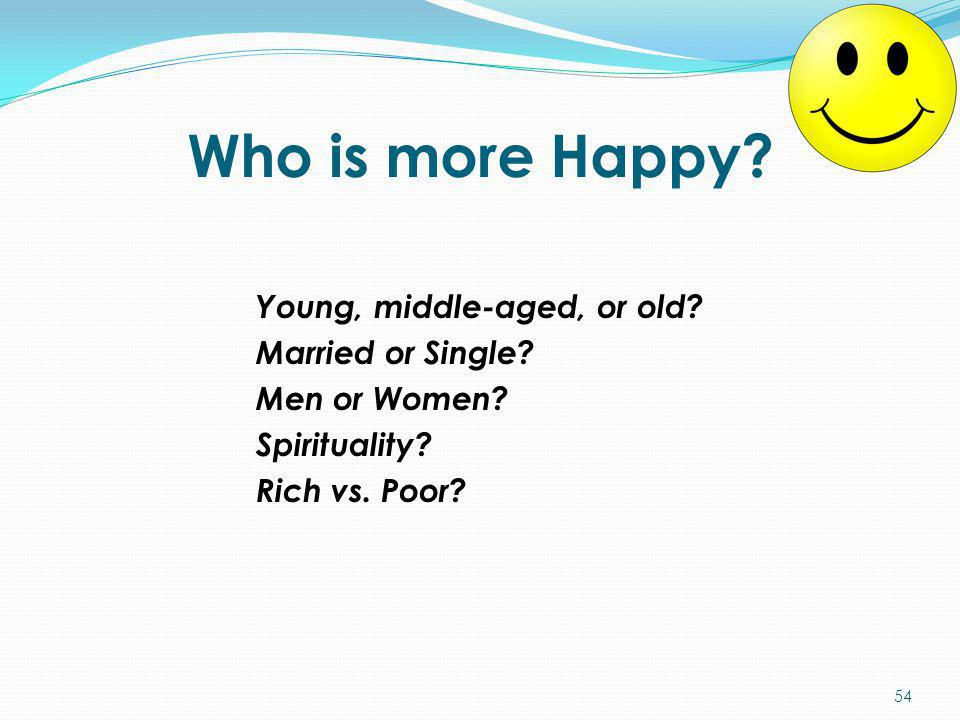 Who is more Happy. Young, middle-aged, or old. Married or Single.