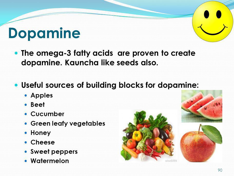 Dopamine The omega-3 fatty acids are proven to create dopamine. Kauncha like seeds also. Useful sources of building blocks for dopamine: