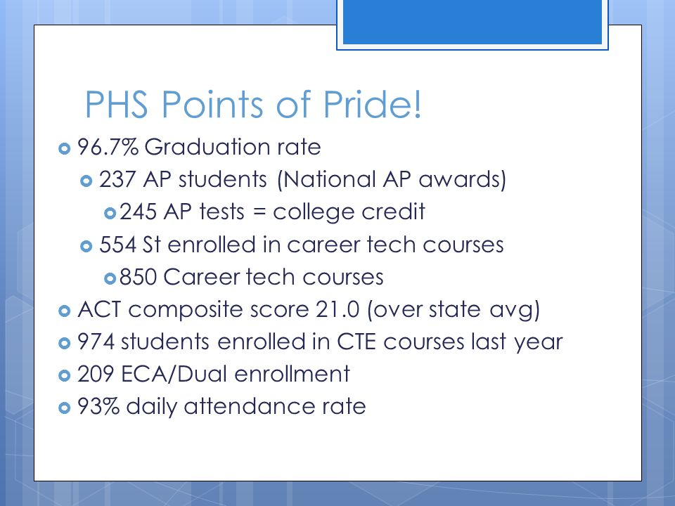 PHS Points of Pride! 96.7% Graduation rate