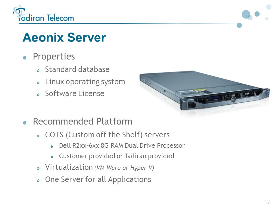 Aeonix Server Properties Recommended Platform Standard database