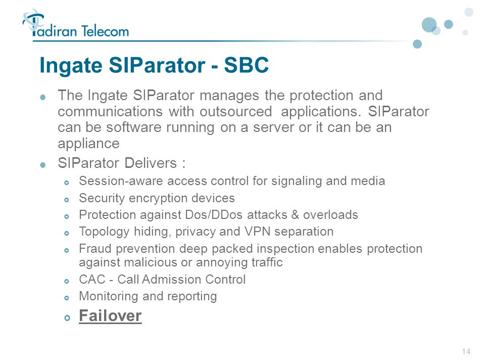 Ingate SIParator - SBC Failover