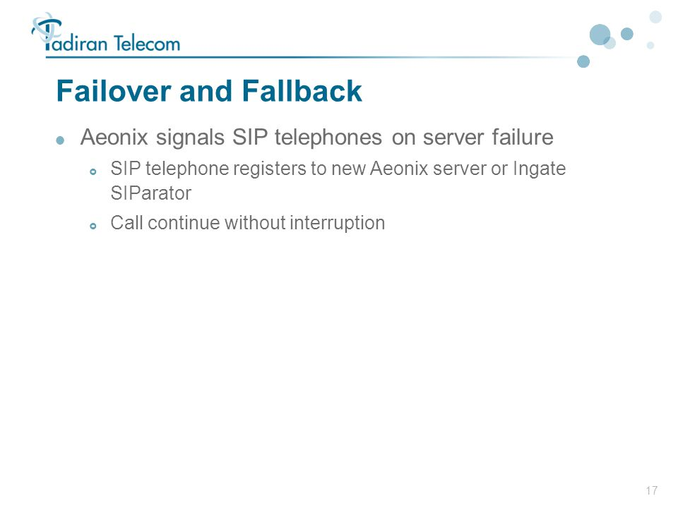 Failover and Fallback Aeonix signals SIP telephones on server failure