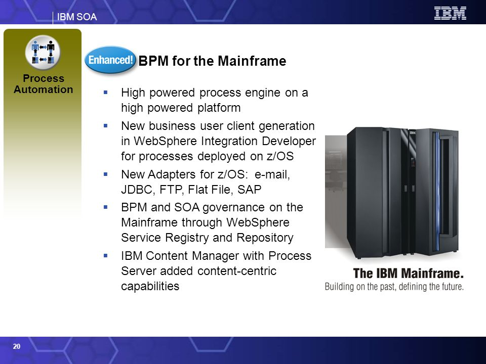 BPM for the Mainframe Process Automation. High powered process engine on a high powered platform.