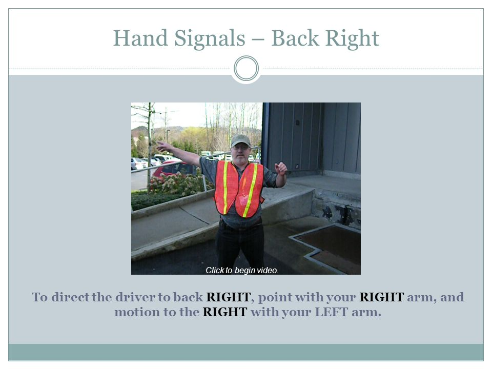 Hand Signals – Back Right