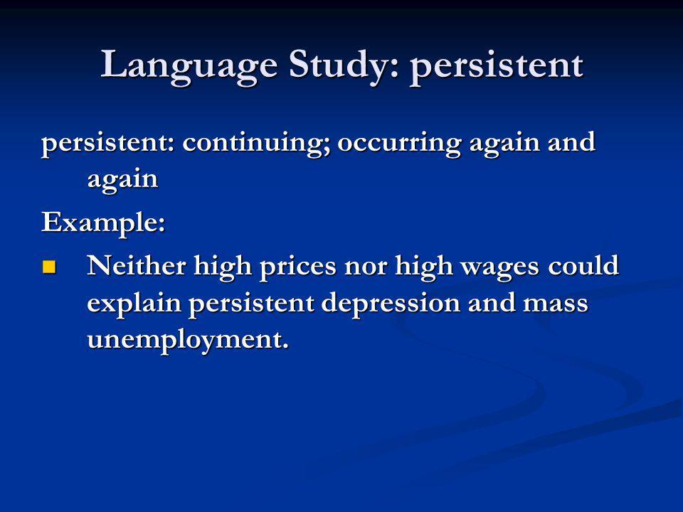 Language Study: persistent
