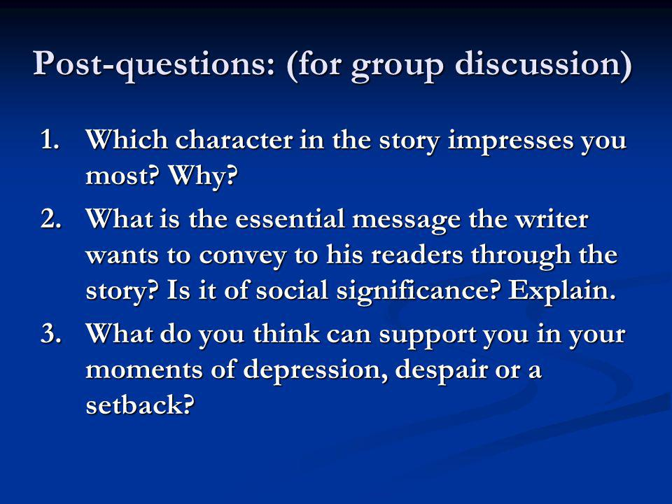 Post-questions: (for group discussion)