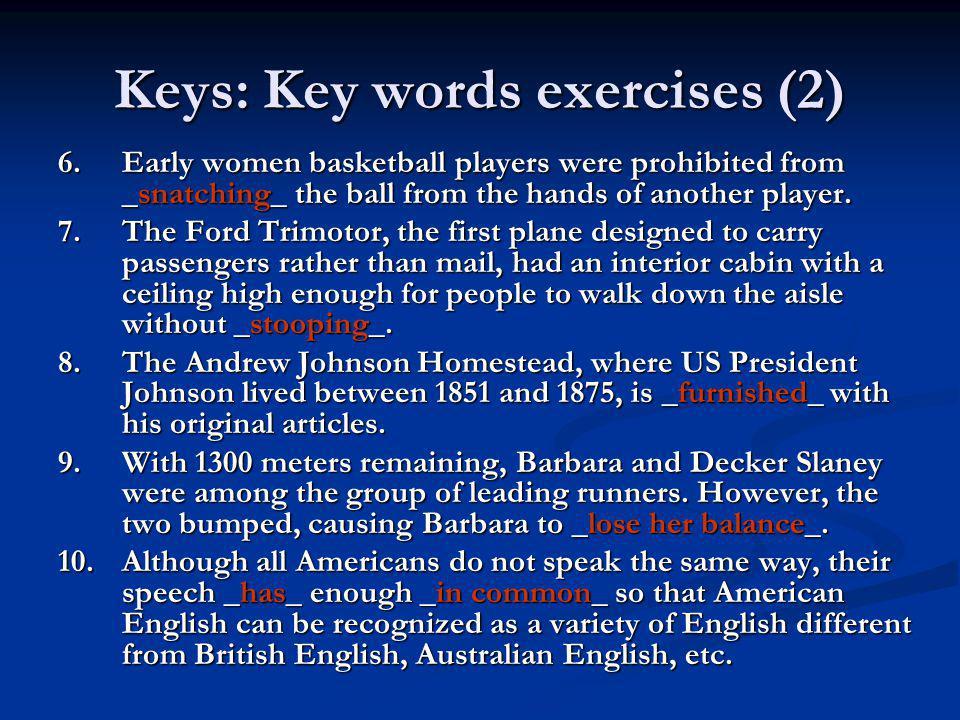 Keys: Key words exercises (2)