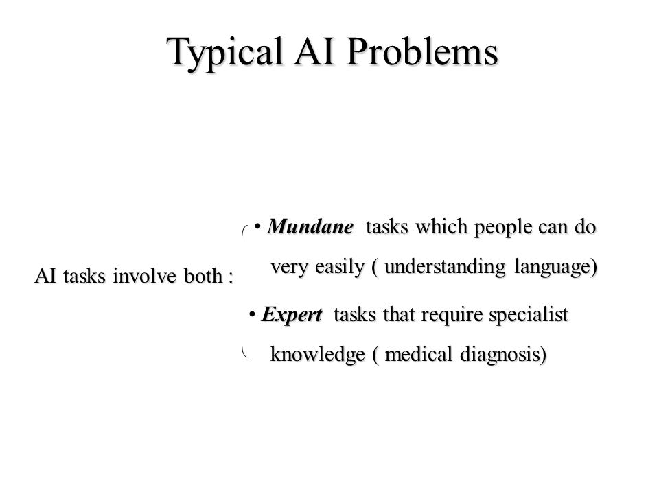 Typical AI Problems Mundane tasks which people can do