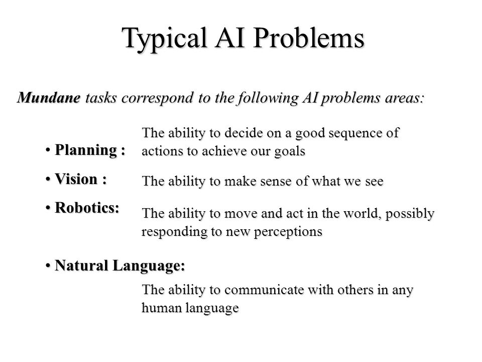 Typical AI Problems Mundane tasks correspond to the following AI problems areas: