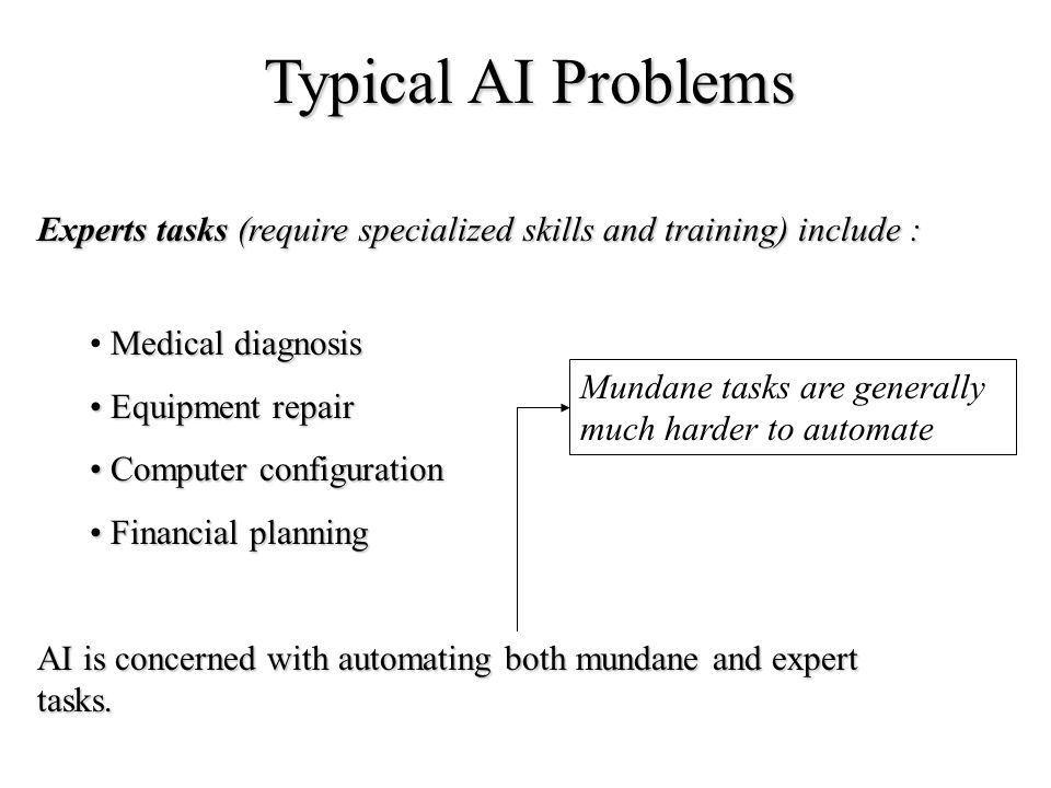 Typical AI Problems Experts tasks (require specialized skills and training) include : Medical diagnosis.