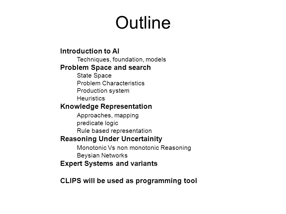 Outline Introduction to AI Problem Space and search