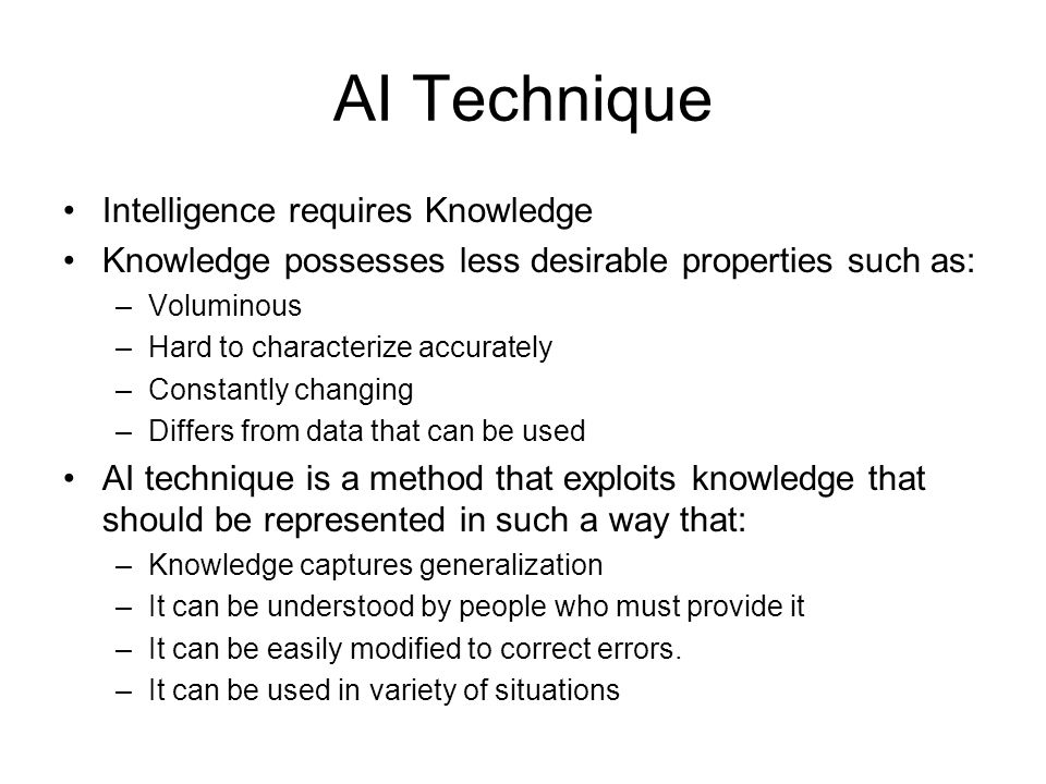 AI Technique Intelligence requires Knowledge