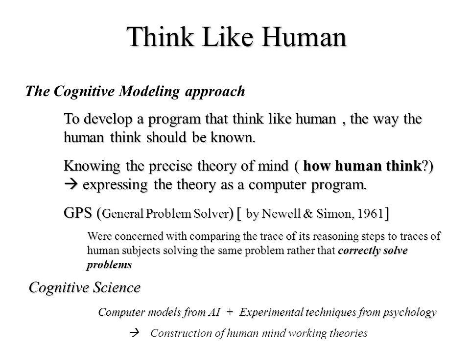 Think Like Human The Cognitive Modeling approach