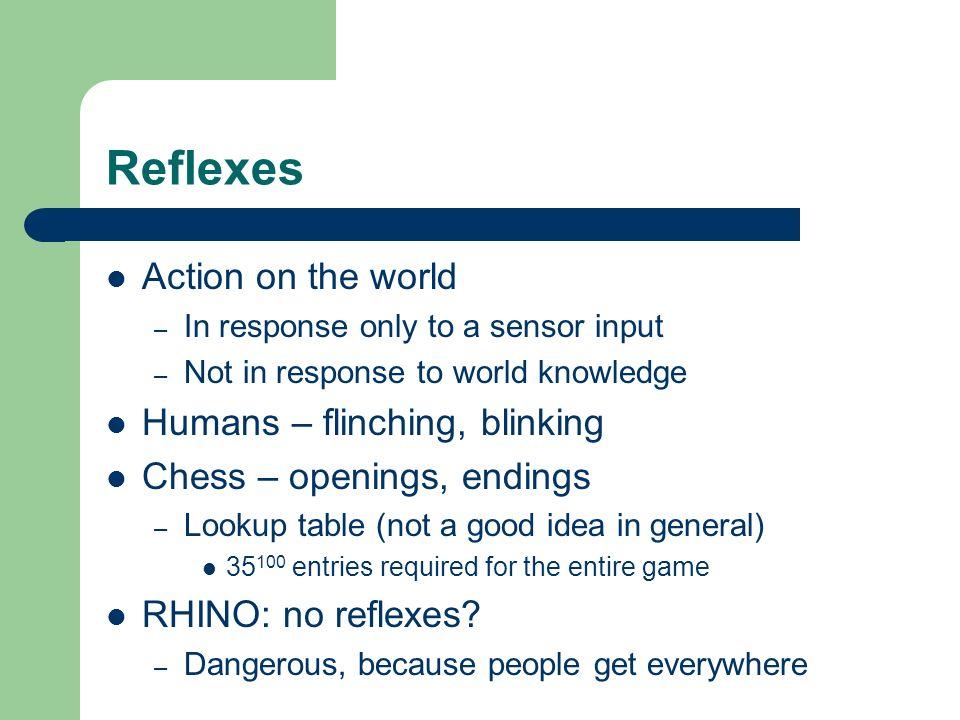 Reflexes Action on the world Humans – flinching, blinking