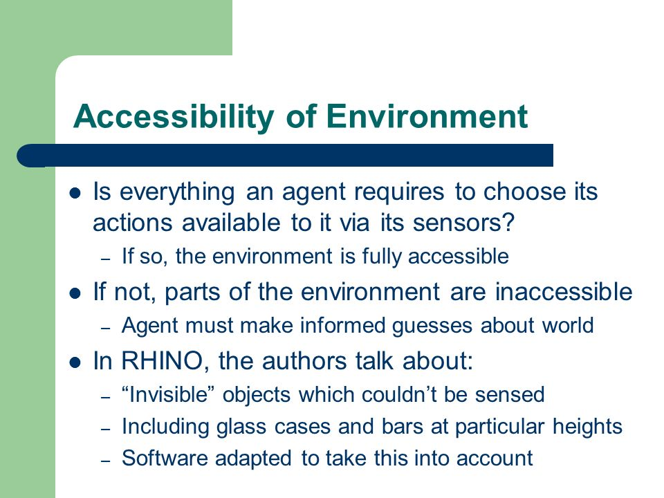 Accessibility of Environment